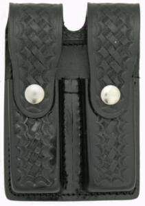 Basketweave Leather Double Mag Holder