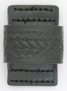 Basketweave Leather Clip On Pager/cell Phone Holder