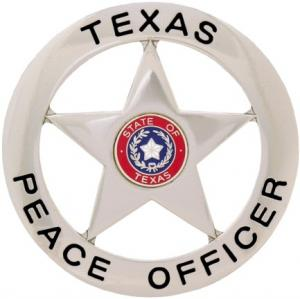 Round Texas Peace Officer Metal Badge