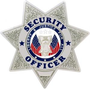 Security Officer 7 Point Star Metal Badge